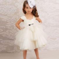 mini etek saten kızlar toptan satış-Peri Beyaz Çiçek Kız Elbise Spagetti Saten Tül Katmanlı Etekler Kısa Mini Çocuk Doğum Günü Akşam Parti Elbise ilk komünyonu Önlükler