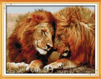 Wholesale lions home decor resale online - Gay lions lovers home decor painting Handmade Cross Stitch Embroidery Needlework sets counted print on canvas DMC CT CT