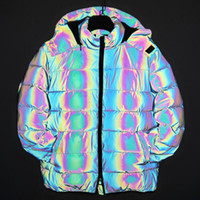 Wholesale reflecting jacket for sale - Group buy 2019 New rainbow reflect winter jackets men reflective parkas colorful reflective jacket hooded streetwear fashion casual warm coat