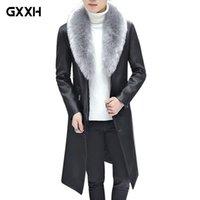 kürk yakalı uzun ceket erkek toptan satış-2019 Yeni Kış Blazer Kürk Yaka Uzun Bölüm Erkekler kürk Coat Erkekler İş Casual Deri Ceket Polar Sıcak Kalın Palto XXXL