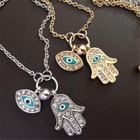 Wholesale rhinestone hand chain resale online - Blue Evil Eye Hamsa Fatima Palm Necklace lucky Turkish Kabbalah hand pendants for women best jewelry