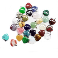 Wholesale heart natural stone resale online - Heart natural Stone Gemstone Pendants Polished Loose Beads Silver Plated Hook Fit Bracelets and Necklace Heart Bead Jewelry GGA3549