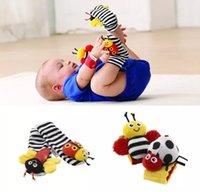 bebek bilek çıngırak toplayın toptan satış-Lamaze çorap bebek çıngırak bebek oyuncakları Lamaze Bahçe Bug Bilek Çıngırak ve Ayak Çorap Arı Peluş oyuncak yürüyor Bebek oyuncakları