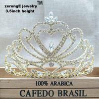ingrosso fascia dei cuori della regina-Concorso da 3,4 pollici Matrimonio Tiara Corone Regina oro cuore Tiara corona Fascia per feste / eventi in maschera / carnevale