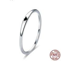 design de anel casal negro venda por atacado-Design simples 925 Sterling Silver Rings Para Womens New Black Anéis de Esmalte de Noivado de Casamento Casal Anel de Jóias