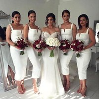 Wholesale real wedding tea length dresses for sale - Group buy Elegant White Sheath Bridesmaid Dresses With Spaghetti Nigerian Tea Length Long Maid Of Honor Gown cheap Wedding Guest Dresses