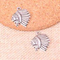 encantos indios al por mayor-100 piezas encantos jefe indio jefe colgantes chapados en plata antigua accesorios de fabricación de joyas accesorios 21 * 18 mm