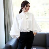 Wholesale blouse bows resale online - Ladies Office Tops Summer Satin Lantern Sleeve Shirt Bow Tie Neck Loose Elegant Robe Harajuku Blouse Top DV995