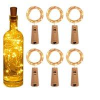 lâmpadas de garrafas de vidro venda por atacado-Bottle Stopper Luz 1M 10LED 2M 20LED Cork em forma de garrafa de vidro da lâmpada LED de cobre Cordas Luzes do casamento do Natal Halloween Party HHA1073