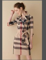çift göğüslü takım elbise toptan satış-İlkbahar ve Sonbahar kadın Trailblazer Elbise Büyük Boy Seksi Kruvaze Ince Ceket Uzun Kollu Ekose Elbise Zarif Elbise A-1069300
