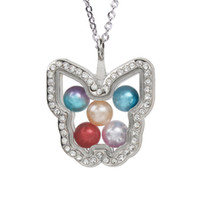 Wholesale floating locket pearls resale online - Magnetic Open Butterfly Glass Locket Pendant Bead Pearl Cage Living Memory Floating Charms Pendant Necklace With Stainless Chain