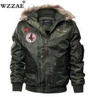 kürklü kaput bombardımanı ceketi toptan satış-Kış Pilot Ceket Erkek Rüzgarlık Bombacı Ceketler Erkekler Rahat Kürk Kapüşonlu Ordu Taktik Mont büyük artı boyutu