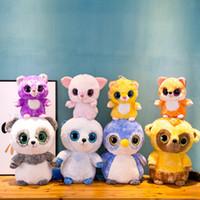 dibujos animados al por mayor-23 CM TY Big Eye Doll Peluche de juguete Corlorful Cartoon TY Beanie Boos Animales de peluche Juguetes para cachorros para niños