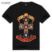 3d üst tabanca toptan satış-E-BAIHUI erkek T-shirt Guns N 'Güller Amerikan Efsanevi Sert Rock Grubu Silahlar ve Gül Kısa kollu T Gömlek 3D Baskı Erkek DX-82 Tops