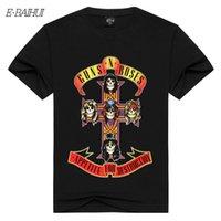 camiseta da rosa 3d venda por atacado-E-BAIHUI T-shirt dos homens Guns N 'Roses Lendário Americano Rock Band Rock Armas e Rosa de manga Curta Camiseta 3D Impressão Masculina Tops DX-82