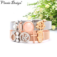Wholesale rose gold snake charm for sale - Group buy Vinnie Design Jewelry Silver Rose Gold Mesh Keepers Bracelets Sets with Slide Charms cm Stainless Steel Wrap Bracelet
