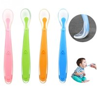Wholesale kitchen sucker for sale - Group buy Silicone Baby Soft Soup Spoon Healthy Infant Sensing Temperature Sucker Kitchen Cooking Spoon Rice Spoon Childre Tableware