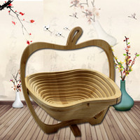 Wholesale handmade craft displays for sale - Group buy bamboo fruit storage basket foldable picnic candy bread food basket with handle display handmade art crafts