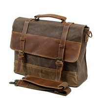 tuval deri dizüstü bilgisayar çantası toptan satış-M275 Erkek Messenger Çanta Su Geçirmez Tuval Deri Erkekler Vintage Çanta Büyük Satchel Omuz Çantaları 14