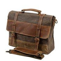 bolsa de cuero vintage para laptop al por mayor-M275 Mens Messenger Bag impermeable de cuero de la lona de los hombres de la vendimia bolsos grandes Satchel bolsas de hombro 14