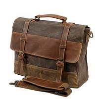 Wholesale white briefcase men resale online - M275 Mens Messenger Bag Waterproof Canvas Leather Men Vintage Handbags Large Satchel Shoulder Bags quot Computer Laptop Briefcase