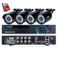 ingrosso telecamera dvr 1tb-FLOUREON 1 X 8CH 720P DVR AHD 4 X Outdoor 2000TVL 960P Telecamera da 1,3 MP con 1 TB di kit di sicurezza HDD