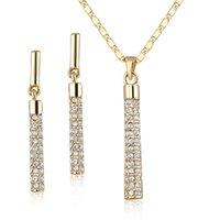 18k austria al por mayor-Cristal claro 18K chapado en oro real ELEMENTOS SWA de Austria Pendientes colgantes y conjuntos de collar colgante Conjunto de collar de joyería de boda