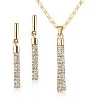 ingrosso collana di goccia della sfera dell'oro-ELEMENTI SWA austriaci placcati in oro 18 carati e trasparenti Set di orecchini con pendente e orecchini pendenti