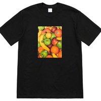 fruchtdruck männer großhandel-Neue Obst T Kleine Logo Druck Kurzarm Mode Baumwolle Männer Frauen Paar Uns Größe T-Shirt HFSSTX148