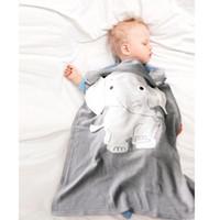 couvertures tricotées nouveau-né achat en gros de-Couverture de bébé couverture de bande dessinée d'éléphant nouveau-né tricoté épais chaud enfants couverture douces d'été literie 70 * 110CM MMA2016