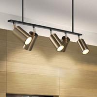 modernos holofotes venda por atacado-Luminária de ouro Pingente Luzes LED Pendurado Holofotes GU10 Nordic Design Moderno para sala de jantar luminária de suspensão de metal