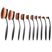 ingrosso spazzolino multiuso-MULTIPURPOSE Set di spazzole per trucco spazzolino per capelli in polvere per capelli morbidi dorati Set di pennelli per trucco ombretto fard 10PCS.