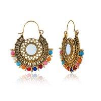 bijoux tibet venda por atacado-Retro Antigo Ouropel De Prata Brincos de Huggie Oco Declaração Brinco Vintage para As Mulheres Brincos Enthic Pendiente Bijoux