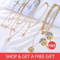Wholesale buying natural pearls for sale - Group buy Buy get Natural Real Pearl Necklace Necklace Women s Multi Layer Women s Pendant Vintage Gold BOHEMIA Gift