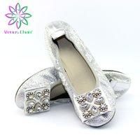 zapatos plegables mujeres al por mayor-Plaza punta de la bailarina Caminar de gran tamaño de los zapatos de diseñador de las mujeres plegable Zapatilla de Ballet Wide Fit 6 Colores de primavera