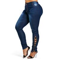 tamanho 26 mulheres skinny jeans venda por atacado-Wipalo Plus Size Zíper Fly Side Lace Up Jeans Magro Cintura Alta Bolsos Denim Calça Jeans Mulheres Calças Lápis Calças Tamanho Grande Y19042901