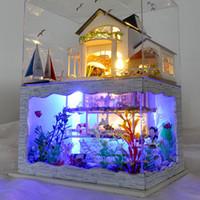 capa de luz do céu venda por atacado-Diy mini casa de bonecas de montagem havaí dollhouse mãos no brinquedo artesanato diy casa decorações modelo brinquedo educativo