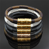 Wholesale titanium chains for men resale online - New Fashion Leather Mont Bracelet Men Buckle Charm Bracelets For Mens With Women Titanium Steel Lovers Rope Bangle Male Jewelry