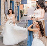 Wholesale marchesa gold white for sale - Group buy Marchesa Bridal Spring A Line Wedding Dresses with D Floral Appliques Plus Size sexy sheer neck A line Garden boho Bridal Wedding Gown