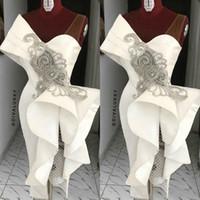 brautjungfer kleid sexy kristall groihandel-Stilvolle sexy mantel 2019 afrikanische abendkleider v-ausschnitt perlen kristalle prom kleider tee länge sexy abend brautjungfer kleider