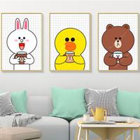 ingrosso verniciature-Cartoon Bear Brown Rabbit Cony Line Friends Nursery Canvas Paintings Pictures Kraft Poster Coated Wall Stickers Regalo per la casa