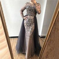 ingrosso vestito da promenade del diamante del gioiello-Sexy Dresses 2019 Mermaid diamante che bordano Con treno sera del vestito abiti Real Photo Abendkleid Grey manica lunga Jewel Prom