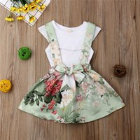 Wholesale girl clothes online - Princess Kids Baby Girls Summer Sets Ruffle Collar Sleeveless Tops Vest Flower Bow Strap Skirt Outfits Girl Clothes M Y
