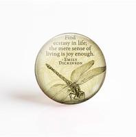 colares de citações venda por atacado-5 Pçs / lote Emily Dickinson Vida Citação Pingente 25mm Cabochão De Vidro Redondo Foto Cameo Acessórios Colar de Jóias