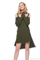 v boyun atlama elbisesi toptan satış-Sıcak Kadınlar Kazak Gevşek Kazak asCual Jumper Kadın Sling V Yaka Uzun Kollu Örgü Kazak Bayanlar Elbise