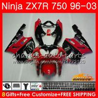 carenagem zx7r vermelho preto venda por atacado-Corpo para KAWASAKI NINJA ZX 7R ZX750 vermelho preto quente ZX-7R 1996 1997 1998 1999 2000 28HC.54 ZX-750 ZX 7 R ZX 750 ZX7R 96 97 98 99 00 Carenagens