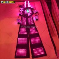 robô de palco venda por atacado-Terno do robô LEVOU iluminado led robô traje de iluminação trajes luminosos levou roupas traje de dança stage show DJ roupas