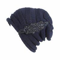 bead cap tips achat en gros de-Bonnet en laine froissée tempérament dames automne et hiver tête de perceuse à bille tête écharpe casquette de loisirs en plein air confortable respirant
