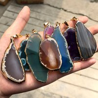Wholesale chime necklaces resale online - Plated gold agate wind chime piece landscape piece pendant color natural agate rough stone slice necklace sweater chain