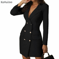 dames blazers occasionnels blancs achat en gros de-KoHuiJoo Ladies Office Blazer Dress BlacK Blanc Casual Double Boutonnage Poitrine Robes Moulantes À Manches Longues Vêtements Femmes